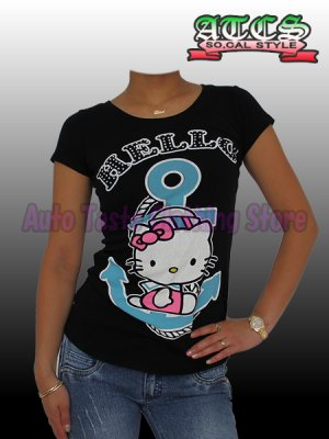 画像1: 【SALE】HELLO KITTY マリン Tシャツ【ブラック】