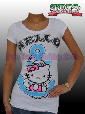 画像1: 【SALE】HELLO KITTY マリン Tシャツ【ホワイト】
