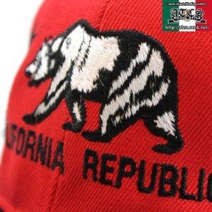画像2: California ベアーデザイン【RED&BLACK】 アジャスタブルCAP