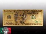 24K GOLDカラー $100札  ゴールド100ドル札