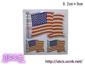 画像1: アメリカ国旗 3Pcステッカー