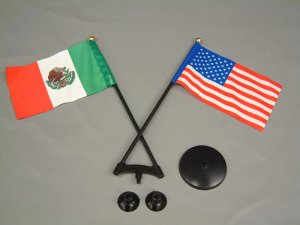 画像1: ミニ フラッグ USA・MEXICO