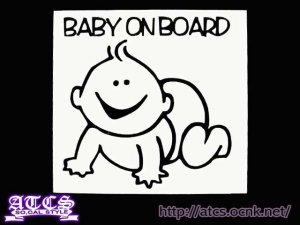 画像1: BABY ON BOARDステッカー